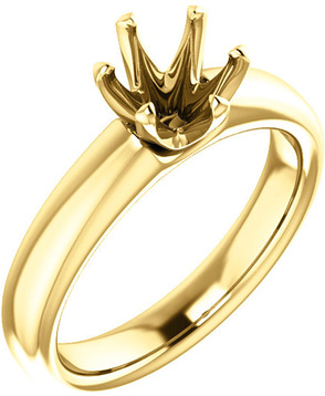 Unset Ring 6-Prong Classic Mounting in 14 Karat Yellow Gold for Round Shape Gemstone Sized 6.50 mm, Ring Size 5