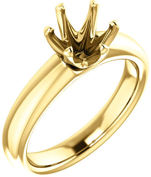 Unset Ring 6-Prong Classic Mounting in 14 Karat Yellow Gold for Round Shape Gemstone Sized 7.00 mm, Ring Size 7