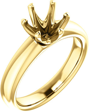 Unset Ring 6-Prong Classic Mounting in 14 Karat Yellow Gold for Round Shape Gemstone Sized 7.40 mm, Ring Size 8