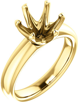 Unset Ring 6-Prong Classic Mounting in 14 Karat Yellow Gold for Round Shape Gemstone Sized 8.80 mm, Ring Size 7