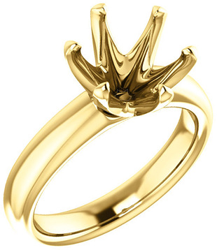 Unset Ring 6-Prong Classic Mounting in 14 Karat Yellow Gold for Round Shape Gemstone Sized 9.40 mm, Ring Size 5
