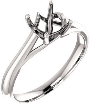 Unset Ring Mounting in 14 Karat White Gold for Asscher Shape Gemstone Sized 6.00 mm, Ring Size 8