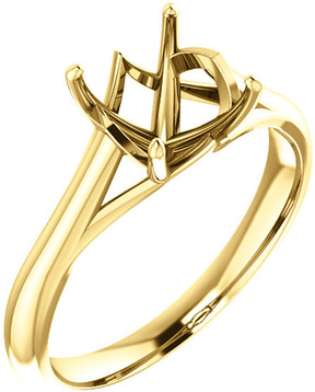 Unset Ring Mounting in 14 Karat Yellow Gold for Asscher Shape Gemstone Sized 7.00 mm, Ring Size 5