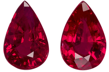 Well Cut Ruby Well Matched Pair in Pear Cut, Medium Rich Red, 6 x 4.1 mm, 1.12 carats