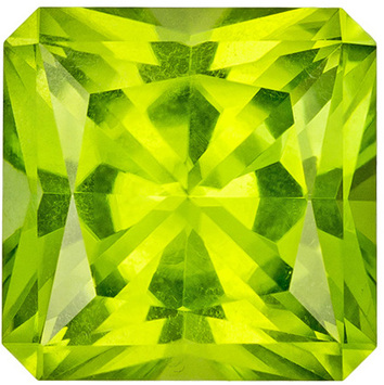 Very Pretty Peridot Loose Gem in Princess Cut, Vivid Lime Green, 8.8 mm, 3.64 carats