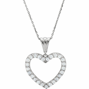 14 KT White Gold 1 Carat Total Weight Diamond Heart 18