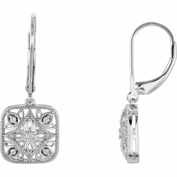14 KT White Gold 1/10 Carat Total Weight Diamond Accented Lever Back Earrings