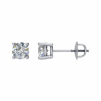 14 KT White Gold 1/2 Carat Total Weight Diamond Threaded Post Stud Earrings