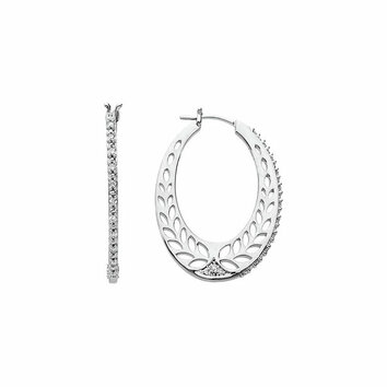14 KT White Gold 1/3 Carat Total Weight Diamond Hoop Earrings