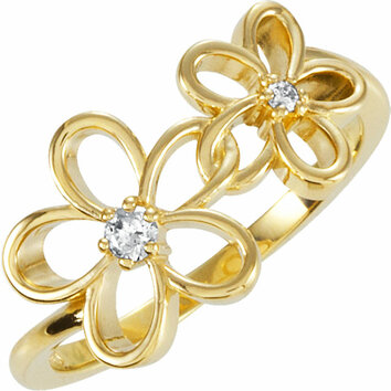 14 KT Yellow Gold .07 Carat Total Weight Diamond Floral Ring