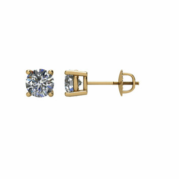 14 KT Yellow Gold 3/4 Carat Total Weight Diamond Earrings