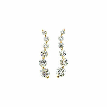 14 KT Yellow Gold Journey Diamond Earrings