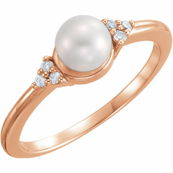14KT Rose Gold 5.5-6mm Freshwater Cultured Pearl & .06 Carat Total Weight Diamond Ring