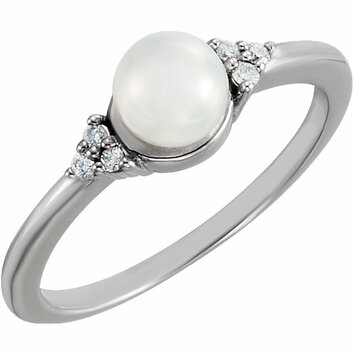 14KT White Gold 5.5-6mm Freshwater Cultured Pearl & .06 Carat Total Weight Diamond Ring