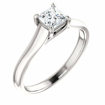 14KT White Gold 6.5x6.5mm Square Trellis 4-Prong Solitaire Ring Mounting