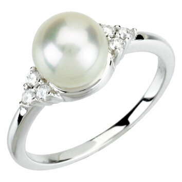 14KT White Gold 7-8mm Freshwater Cultured Pearl & 1/8 Carat Total Weight Diamond Ring