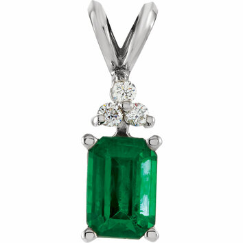14KT White Gold Emerald & .06 Carat Total Weight Diamond Pendant