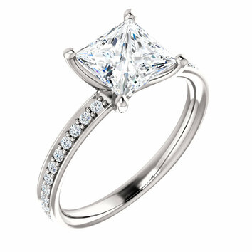 14KT White Gold Forever Brilliant Moissanite & 1/8 Carat Total Weight Diamond Ring