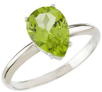 14KT White Gold Peridot Solitaire Ring