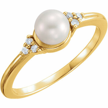 14KT Yellow Gold 5.5-6mm Freshwater Cultured Pearl & .06 Carat Total Weight Diamond Ring