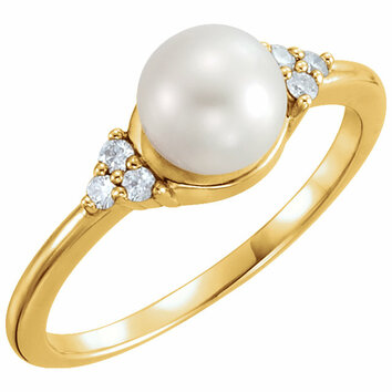 14KT Yellow Gold 6.5-7mm Freshwater Cultured Pearl & .09 Carat Total Weight Diamond Ring