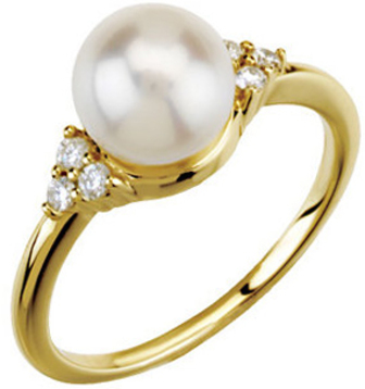 14KT Yellow Gold 7.5-8mm Freshwater Cultured Pearl & 1/8 Carat Total Weight Diamond Ring
