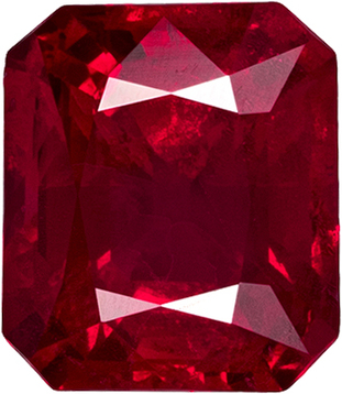 Emerald Cut Loose Ruby Loose Gem in Open Rich Red Color, 5.7 x 5 mm, 1.04 carats