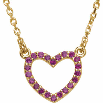 Genuine Ruby Heart Necklace