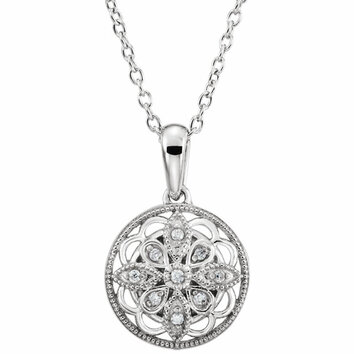 Sterling Silver .05 Carat Total Weight Diamond 18