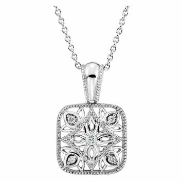 Sterling Silver .05 Carat Total Weight Diamond Accented 18