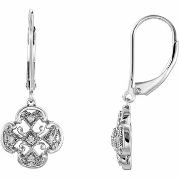 Sterling Silver .07 Carat Total Weight Diamond Accented Lever Back Earrings