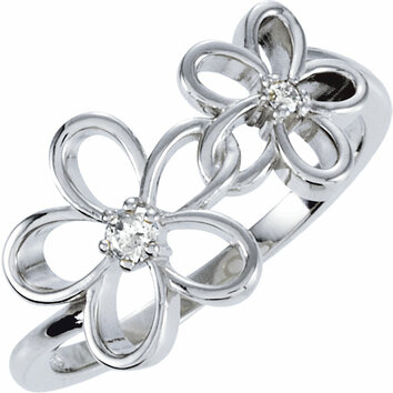 Sterling Silver .07 Carat Total Weight Diamond Floral Ring