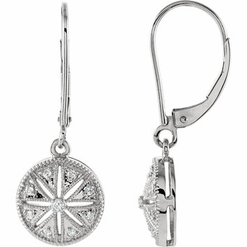 Sterling Silver 1/10 Carat Total Weight Diamond Lever Back Earrings