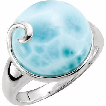 Sterling Silver Larimar Ring Size 11