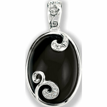Sterling Silver Onyx & .05 Carat Total Weight Diamond Pendant