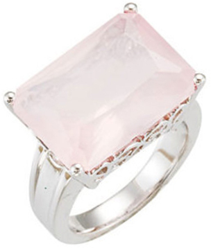 Rose Quartz Scroll Design Ring