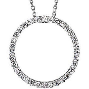 Eye-Catching 1/2 ct Diamond Circle Pendant  in Platinum for SALE - FREE Chain