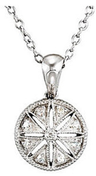 Stunning Round  Sterling Silver Pendant with Sunburst Style Design and .05ct Diamond Accnets - FREE Chain Included