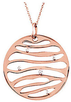 Stunning Rose Gold Coin Style Pendant  With Abstract Cut Outs and .02ct Diamond Accents - FREE Chain Included - SOLD