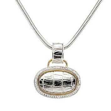 Fabulous Textured Sterling Silver Oval Shaped Pendant with 14k Yellow Gold - 1/3 ct Diamond Outline - FREE Chain