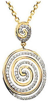 Mesmerizing Diamond Swirl Pendant With 14k White and Yellow Gold for SALE - FREE Chain - SOLD