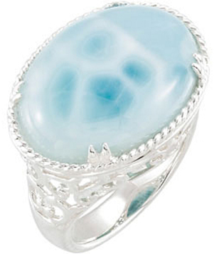 Amazing 20x15 Oval Larimar Cabochon Ring for SALE - Ornate Silver Braiding and Decoration
