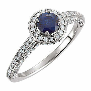 14KT White Gold Sapphire & 5/8 CTW Diamond Engagement Ring
