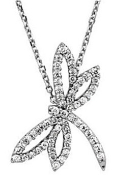 Cute and Whimsical Dragonfly 1/3ct Diamond Pendant in 14 White Gold