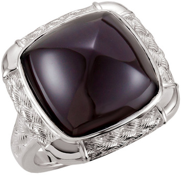 Weave Design Sterling Silver 16mm Onyx Pyramid Cabochon Ring
