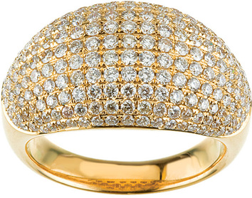 Chunky Band 14 Karat Yellow Gold  1 3/4 Carat Total Weight Pave Dome Ring
