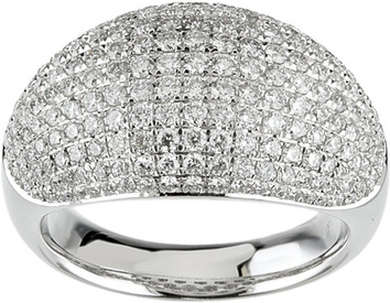 Chunky Band 14 Karat White  Gold  1 3/4 Carat Total Weight Pave Dome Ring