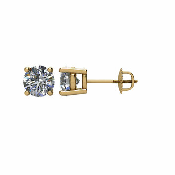 14KT Yellow Gold 1 CTW Diamond Earrings