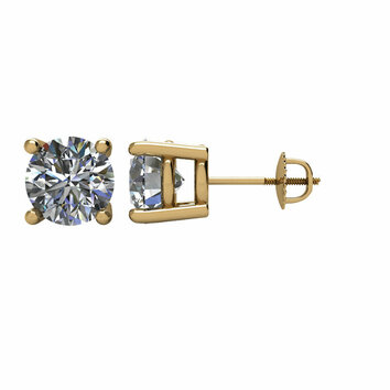14KT Yellow Gold 2 CTW Diamond Earrings