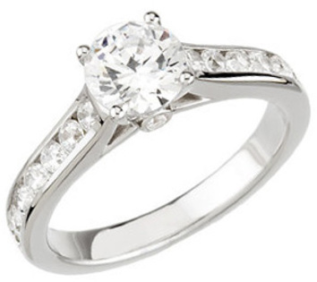 Cathedral Style Acceented Band 14 Karat White Gold 1 3/4 Carat Total Weight Diamond Engagement Ring
